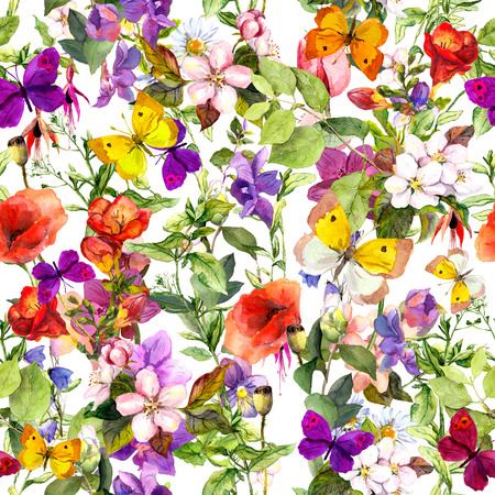 herb garden: Flowers and butterflies. Repeated floral pattern for fashion design. Watercolor