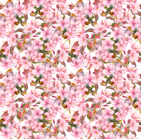 ピンクの花が咲いてください。シームレスなヴィンテージ花柄。水彩のレトロなデザインと自然の背景