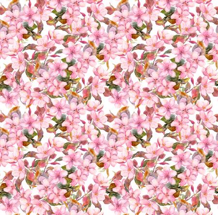 분홍색 꽃을 피. 원활한 빈티지 꽃 패턴입니다. 수채화 복고풍 디자인과 자연 배경 스톡 콘텐츠