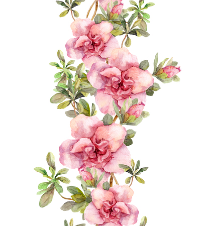 Blooming pink flowers. Seamless vintage floral pattern. Watercolor retro design and natural background Stock Photo