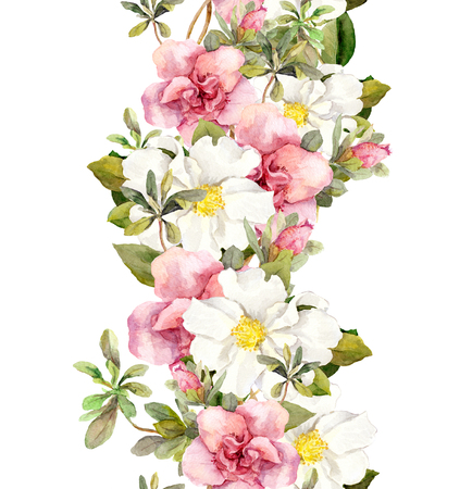 flower meadow: Blooming pink flowers. Seamless vintage floral pattern. Watercolor retro design and natural background Stock Photo