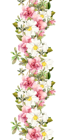 borde de flores: Blooming flores de color rosa. Modelo floral de la vendimia inconsútil. Diseño de la acuarela retro y fondo natural