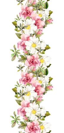 borde de flores: Blooming flores de color rosa. Modelo floral de la vendimia incons�til. Dise�o de la acuarela retro y fondo natural