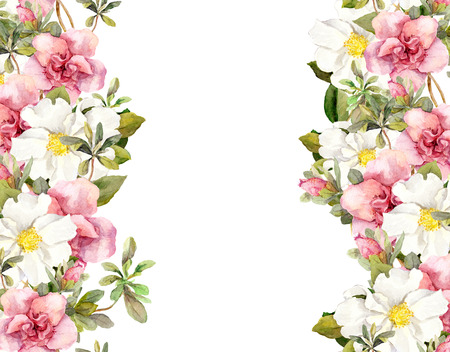 fringe: Blooming pink flowers. Seamless vintage floral pattern. Watercolor retro design and natural background Stock Photo
