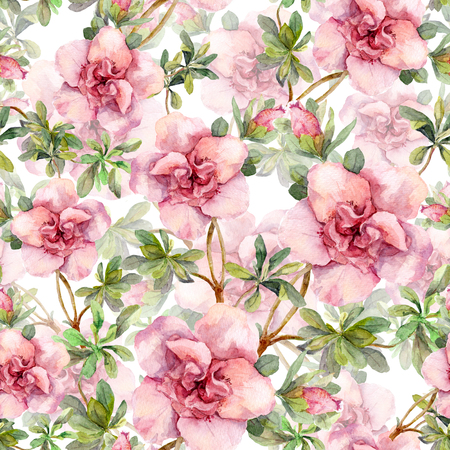Blooming pink flowers. Seamless vintage floral pattern. Watercolor retro design and natural background Zdjęcie Seryjne