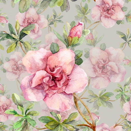 flower sketch: Blooming pink flowers. Seamless vintage floral pattern. Watercolor retro design and natural background Stock Photo