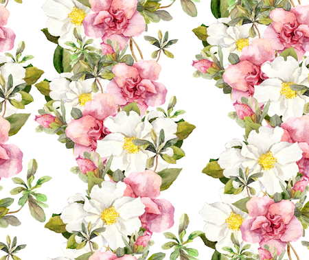 aquarel: Blooming pink flowers. Seamless vintage floral pattern. Watercolor retro design and natural background Stock Photo