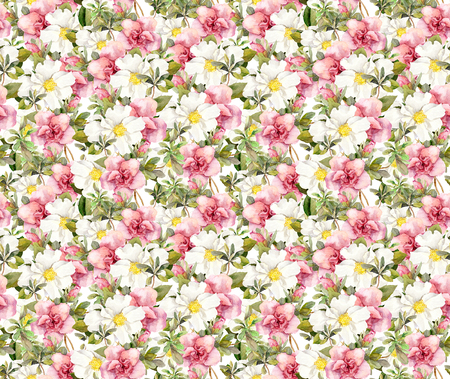 vintage floral pattern: Blooming pink flowers. Seamless vintage floral pattern. Watercolor retro design and natural background Stock Photo