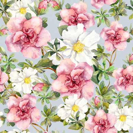Blooming pink flowers. Seamless vintage floral pattern. Watercolor retro design and natural background Фото со стока