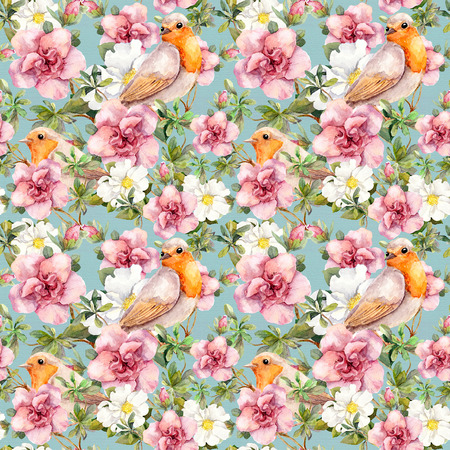 Watercolor birds and watercolor flowers. Seamless floral pattern. Фото со стока