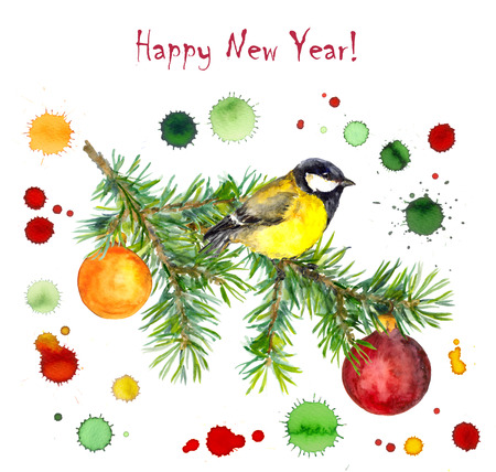 greeting season: Season greeting watercolor card with bird on christmas tree and multicolor drops