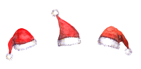 Three Christmas Santa red hats isolated, watercolor