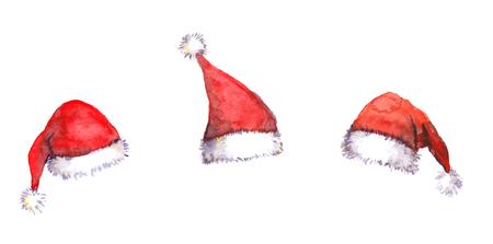 Three Christmas Santa red hats isolated, watercolor