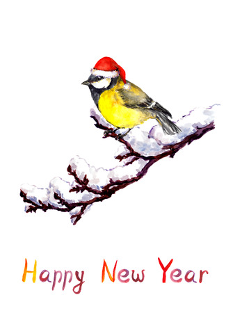 tit bird: New year greeting card - cute tit bird in red santa hat at branch with snow. Vintage watercolor