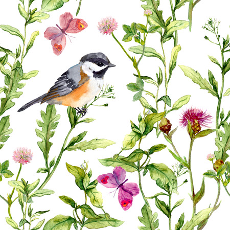 floral: Meadow with butterflies, birds and herbs. Seamless watercolor floral pattern. Stock Photo