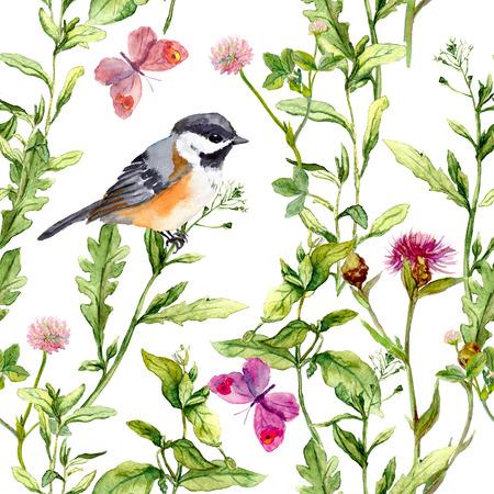 Weide met vlinders, vogels en kruiden. Naadloze aquarel bloemmotief.