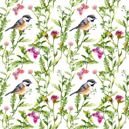 aquarel: Meadow with butterflies, birds and herbs. Seamless watercolor floral pattern. Stock Photo