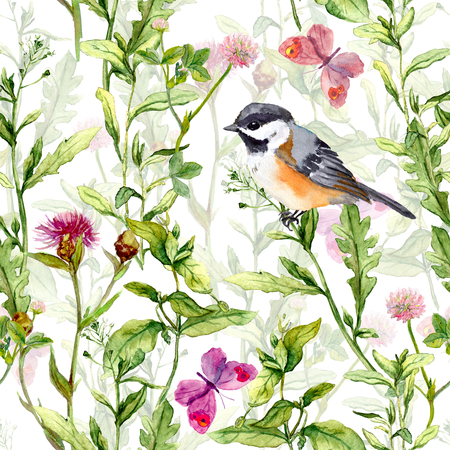 small field: Meadow with butterflies, birds and herbs. Seamless watercolor floral pattern. Stock Photo