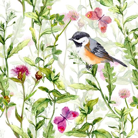 petites fleurs: Prairie avec des papillons, des oiseaux et des herbes. Aquarelle Seamless motif floral.