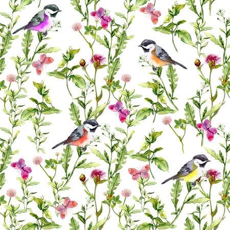 蝶、鳥、ハーブ入り牧草地。シームレスな水彩花柄。