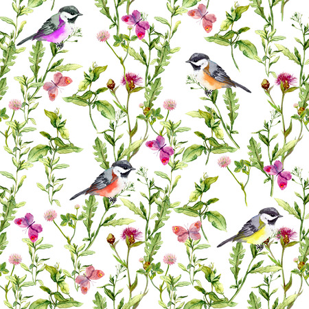 Meadow with butterflies, birds and herbs. Seamless watercolor floral pattern. 免版税图像