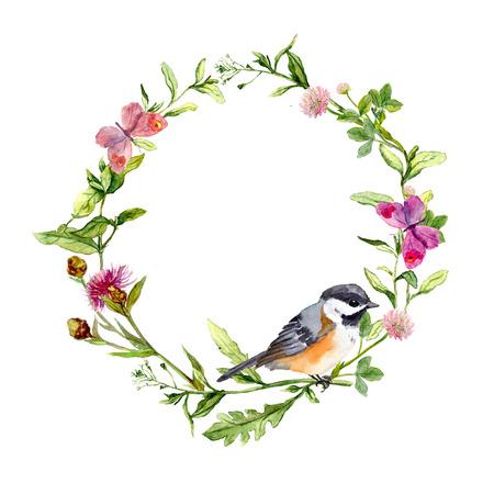 Prato con farfalle, uccelli e le erbe. Acquerello Seamless pattern floreale. Archivio Fotografico - 45780452