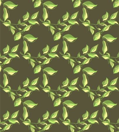 brown pattern: Seamless brown pattern with green leaves