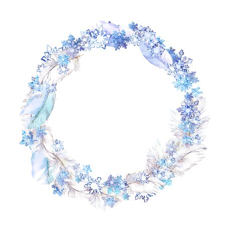 Winter krans met vlokken sneeuw en veren. Aquarel cirkel frame voor modeontwerp