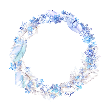winter fashion: Winter wreath with snow flakes and feathers. Watercolor circle frame for fashion design