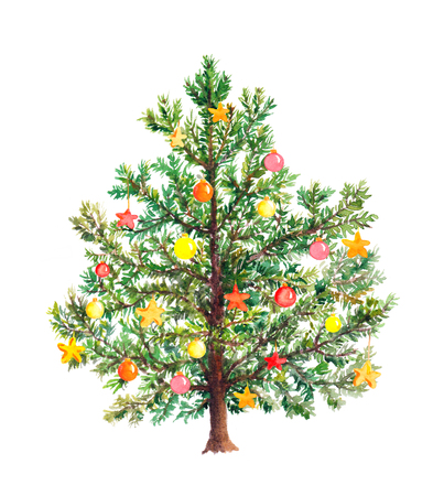 aquarell: Christmas tree with decorative baubles. Watercolor isolated