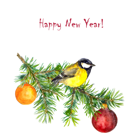 tit: Cute new year illustration with tit bird and baubles, watercolor