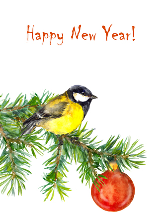 tit bird: Cute new year illustration with tit bird and baubles, watercolor