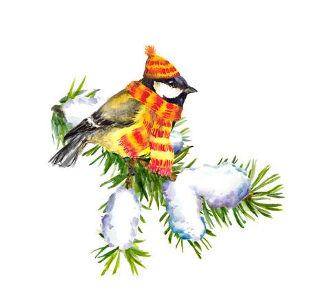 chickadee: Vintage greeting card with retro painted bullfinch