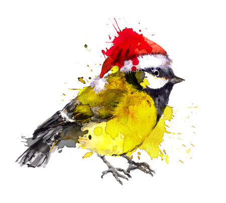 parus: Watercolor winter bird - tit in the red hat with artistic blots