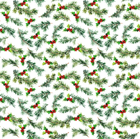 repeat: Pine, spruce tree branch. Watercolor repeat pattern