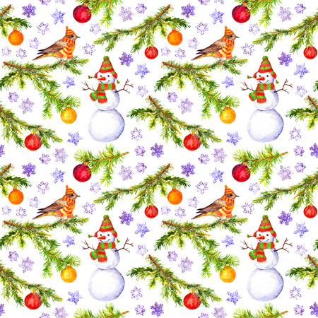 pine spruce: Pine, spruce tree branch. Watercolor repeat pattern