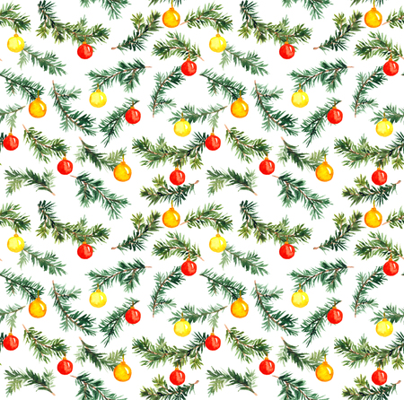 pine spruce: Pine, spruce tree branch. Watercolor repeat seamless  pattern