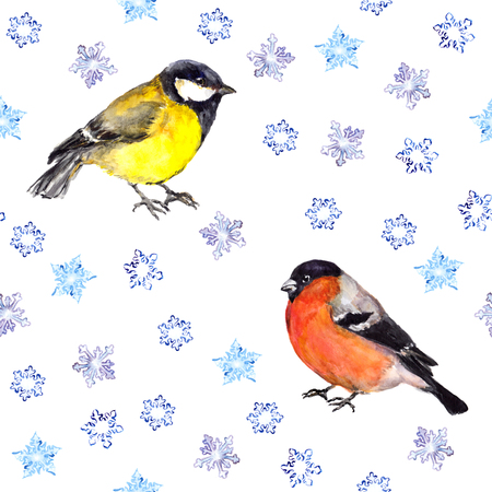 tit: Vintage winter endless pattern with birds - tit and bullfinch, bullfinches with snowflakes