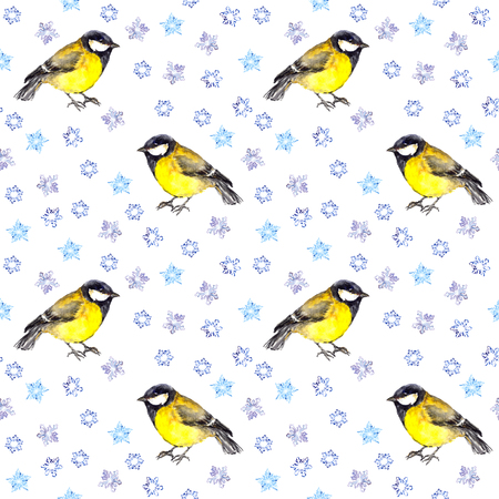 winter snow: Vintage winter endless pattern with retro birds bullfinches with snowflakes
