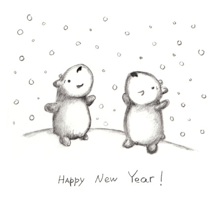 happyness: Pencil doodle greeting card with teddy and snowflakes - happyness