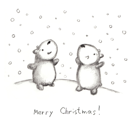 happyness: Hand drawn Christmas sketch with bears and snow Stock Photo
