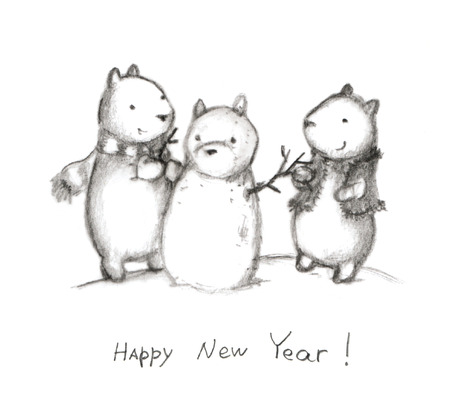 merry mood: Cute new year pencil drawn postcard with bears and snowman, gretting card Stock Photo
