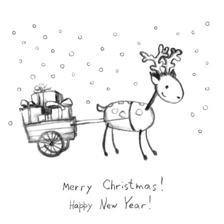 christmas postcard: New year vintage postcard: deer and sleigh with present boxes