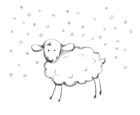 year of sheep: Pencil painted new year sheep in snow,  sketch