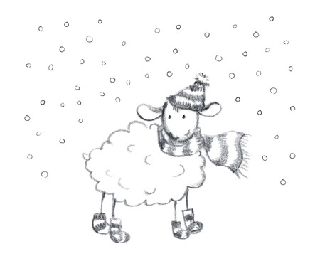 year of sheep: Pencil painted new year sheep in snow. Hand drawn sketch Stock Photo