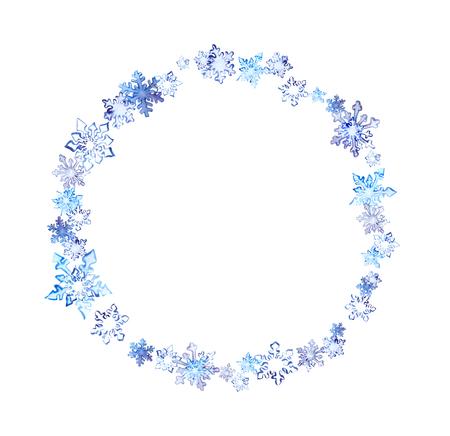 corona navidad: Corona de invierno con copos de nieve. Marco del círculo de la acuarela para el diseño de moda Foto de archivo
