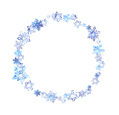 Winter wreath with snow flakes. Watercolor circle frame for fashion design Stock Photo
