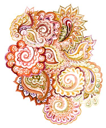 disegni cachemire: Senza soluzione di continuità ornato elemento di mano indiano disegno dipinto con scorrimento e paisley