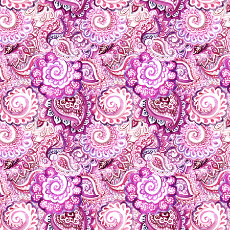 Seamless ornamental ethnic background with indian oriental floral ornament Bright violet ethnic design
