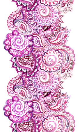 Seamless ornamental ethnic background with indian oriental floral ornament. Watercolor design Banque d'images